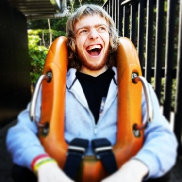 James testing out the rollercoaster seats!