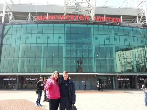 Sarah & Matty outside Old Trafford.
