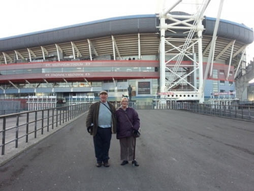Brian and Judy outside the Millennium Stadium in Cardiff